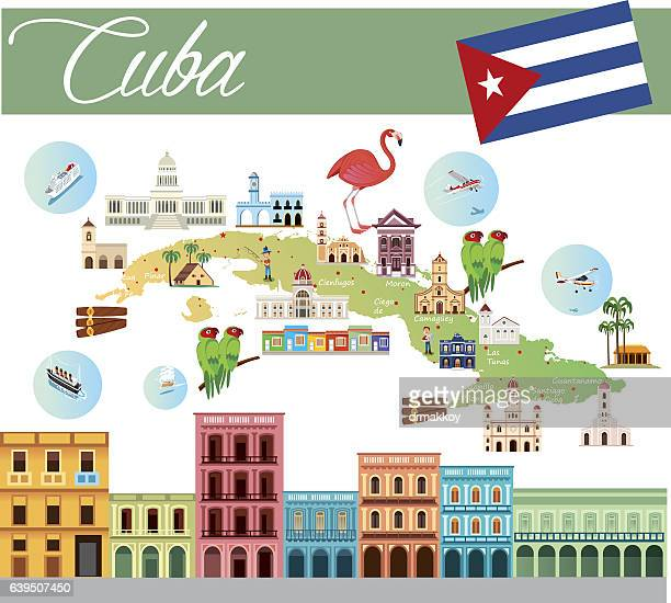 cartoon map of cuba - santa clara cuba stock illustrations