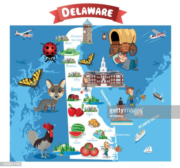 cartoon map of delaware - newark delaware stock illustrations, clip art, cartoons, & icons