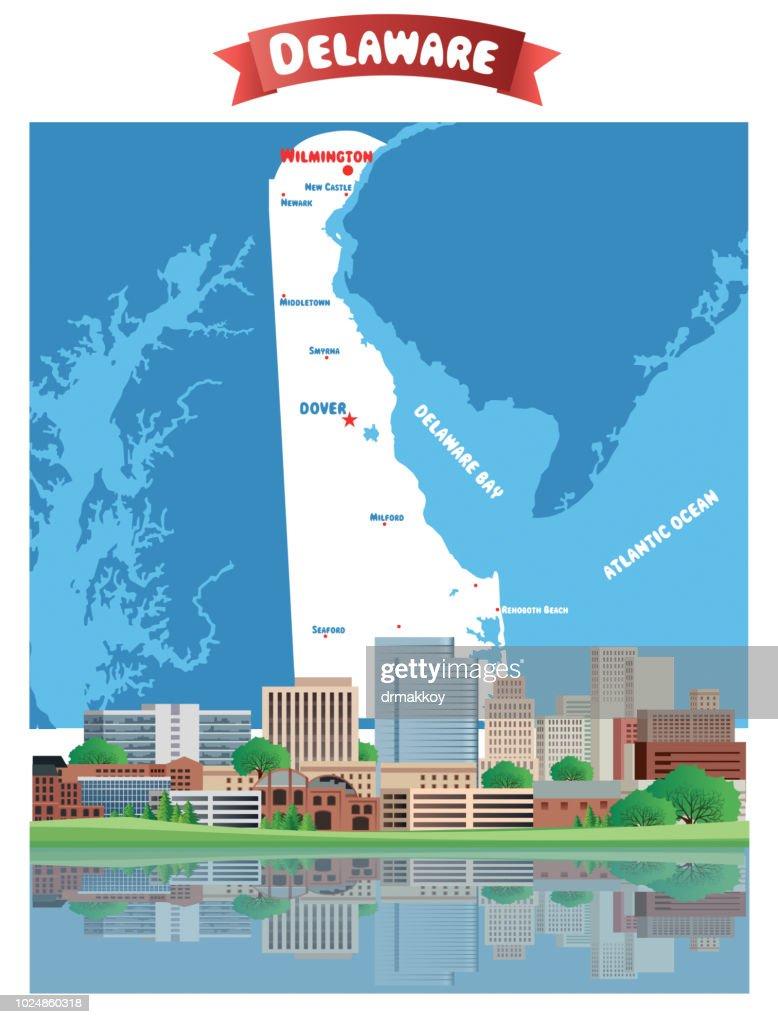 Cartoon Map of Delaware : stock illustration