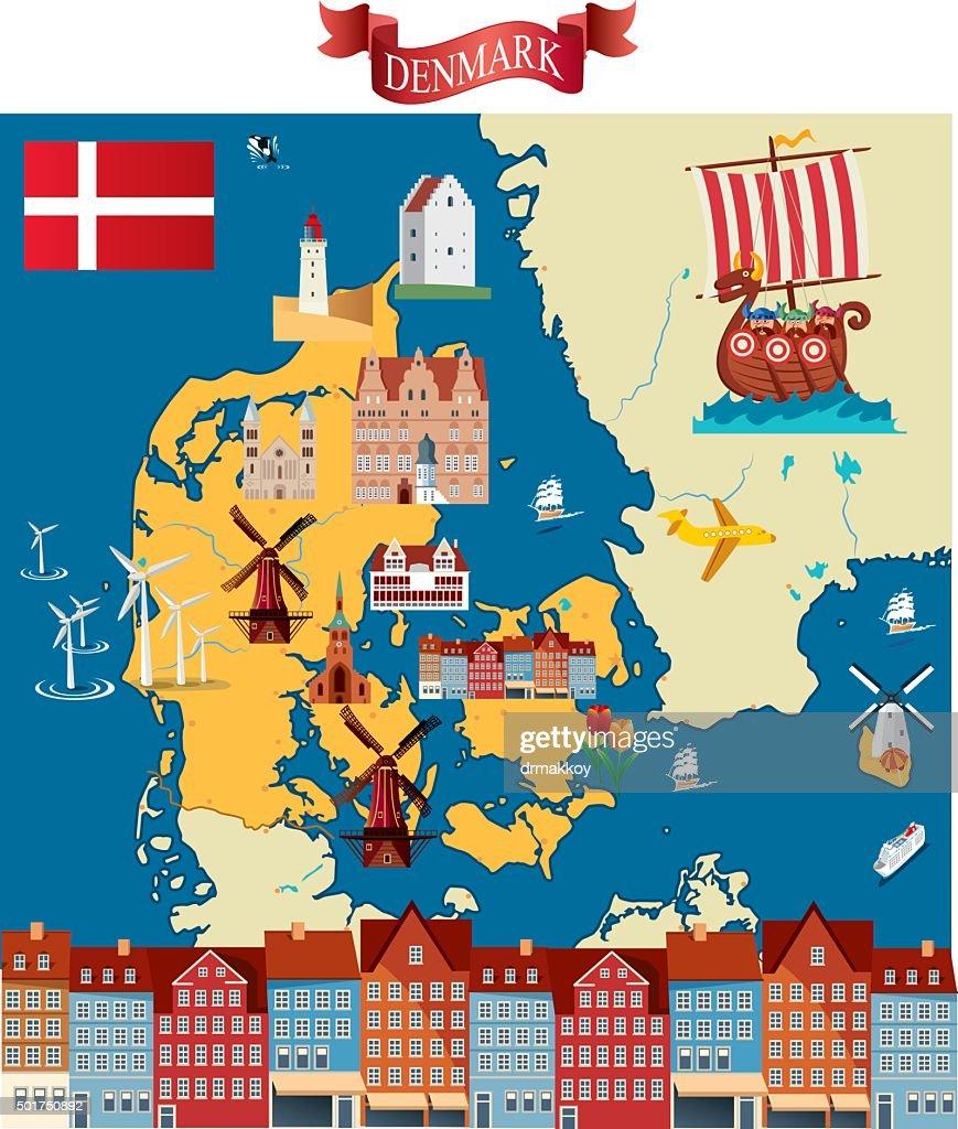 Cartoon map of Denmark