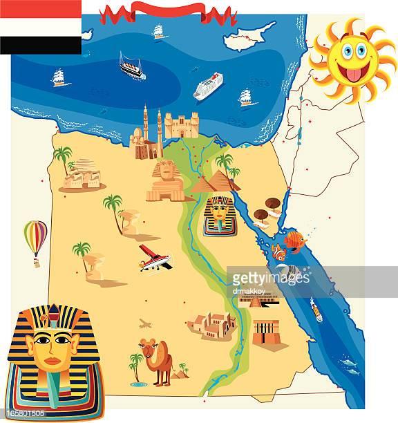 cartoon map of egypt - nile river stock illustrations, clip art, cartoons, & icons