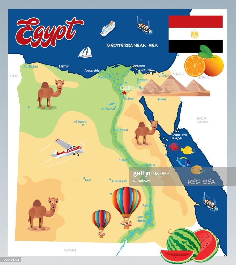 Cartoon map of Egypt : stock illustration