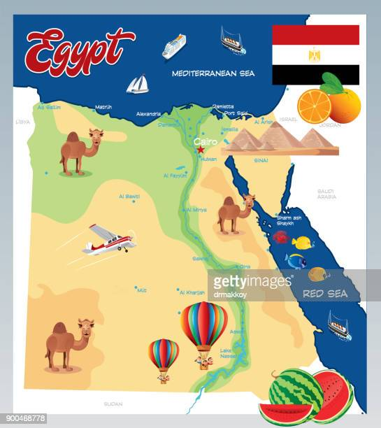 cartoon map of egypt - mycenae stock illustrations