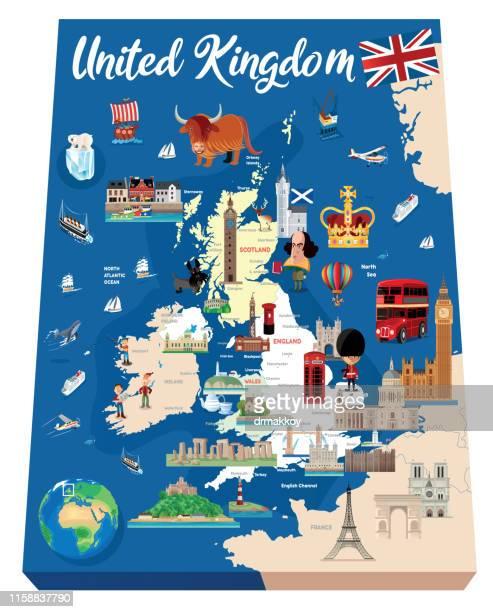 cartoon map of england - northeastern england stock illustrations, clip art, cartoons, & icons