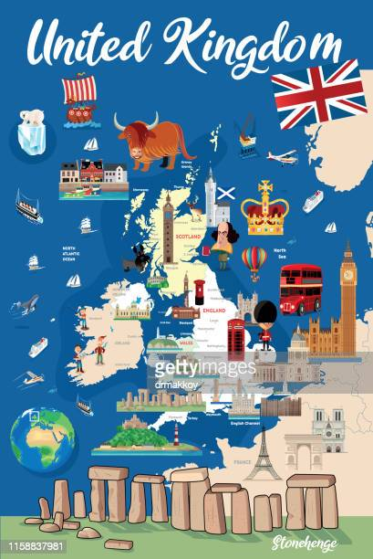 cartoon map of england - megalith stock illustrations, clip art, cartoons, & icons