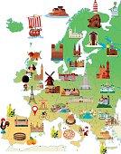Cartoon map of Europe
