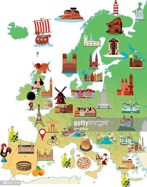 stockillustraties, clipart, cartoons en iconen met cartoon map of europe - europa geografische locatie