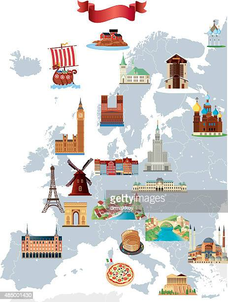 bildbanksillustrationer, clip art samt tecknat material och ikoner med cartoon map of europe - international landmark