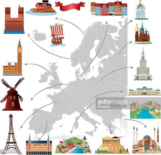 cartoon map of europe - helsinki stock illustrations, clip art, cartoons, & icons
