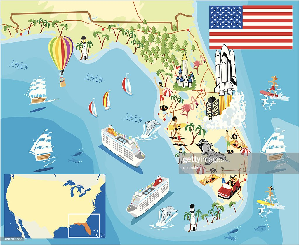 Cartoon Map Of Florida Vector Art Getty Images
