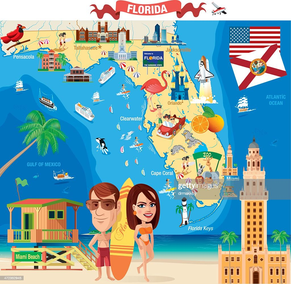 Cartoon Map Of Florida stock illustration - Getty Images on