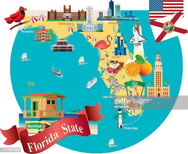 cartoon map of florida - melbourne stock illustrations