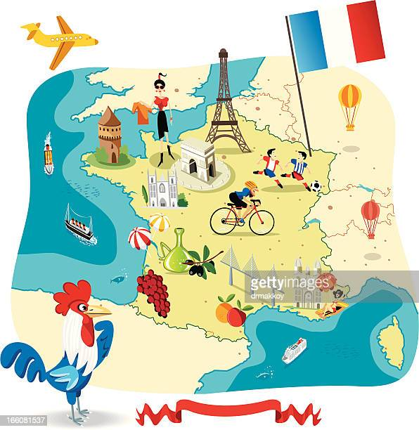 cartoon map of france - nice france stock illustrations, clip art, cartoons, & icons