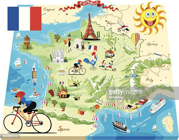 cartoon map of france - france stock illustrations