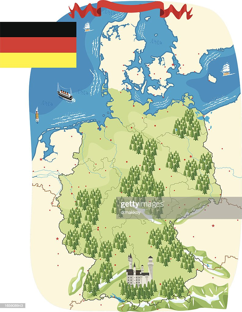 Cartoon Map Of Germany.Cartoon Map Of Germany Stock Vector Getty Images