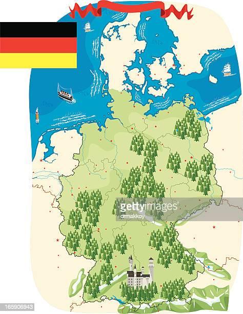 Cartoon map of Germany