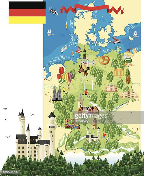cartoon map of germany with a castle and trees - germany stock illustrations, clip art, cartoons, & icons