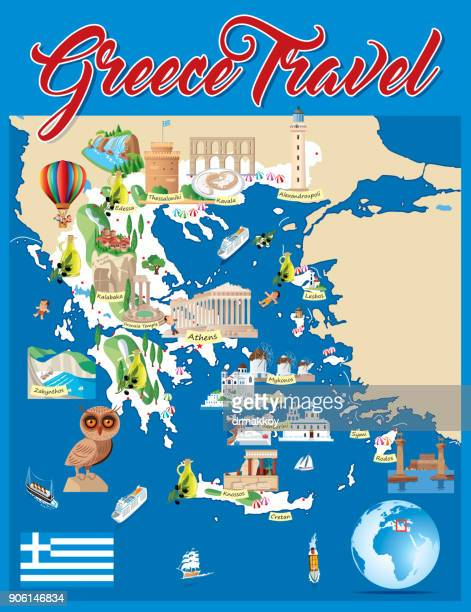cartoon map of greece - santorini stock illustrations