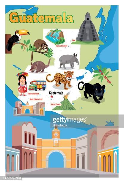 cartoon map of guatemala, semuc champey, tikal, chichicastenango, pavaya, canta catalina arch, chimaltenango, chiquimula, coatepeque, cobán, cuilapa, escuintla, esquipulas, flores, guatemala city, huehuetenango, jalapa, jutiapa, mazatenango, mixco, puerto - armadillo stock illustrations