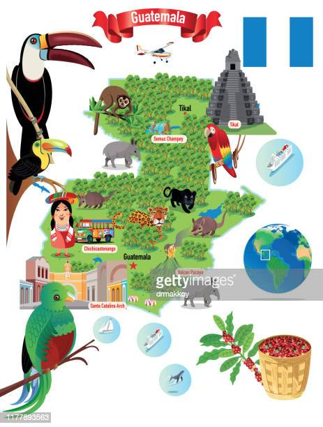 ilustraciones, imágenes clip art, dibujos animados e iconos de stock de cartoon map of guatemala, semuc champey, tikal, chichicastenango,pavaya, canta catalina arch,  chimaltenango, chiquimula, coatepeque, cobán, cuilapa, escuintla, esquipulas, flores, guatemala city, huehuetenango, jalapa, jutiapa, mazatenango, mixco, puerto - quetzal