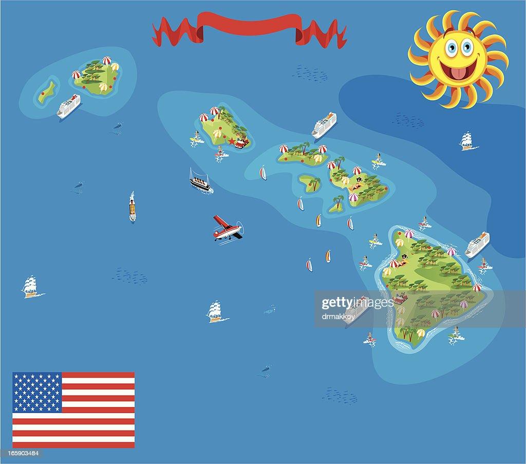 Cartoon map of Hawaii