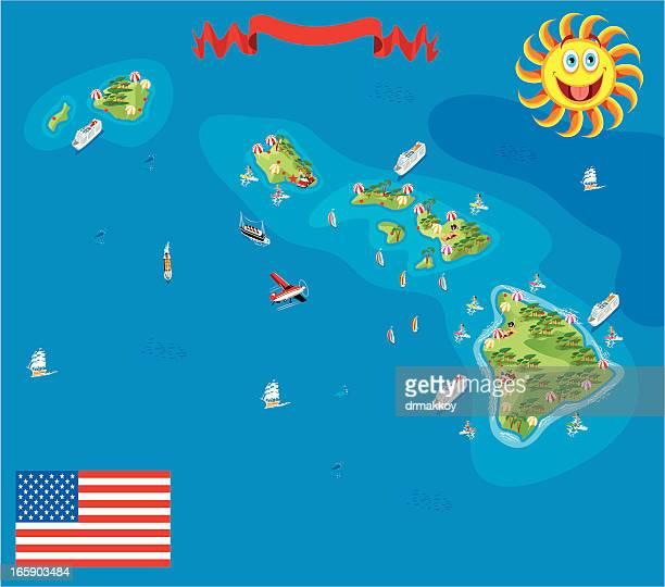 cartoon map of hawaii - big island hawaii islands stock illustrations