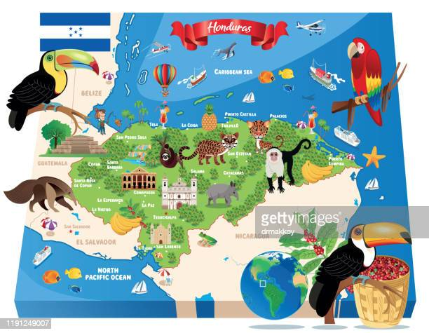 ilustraciones, imágenes clip art, dibujos animados e iconos de stock de cartoon map of honduras,tegucigalpa, san pedro sula, choloma, la ceiba, el progreso, ciudad choluteca, comayagua, puerto cortez, la lima, danlí, siguatepeque, juticalpa, villanueva, tocoa, tela, santa rosa de copán, olanchito, san lorenzo, - honduras