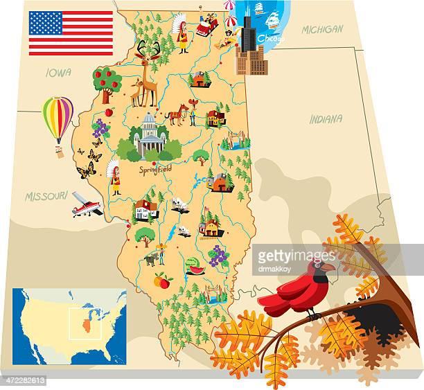 cartoon map of ilinois - evanston illinois stock illustrations
