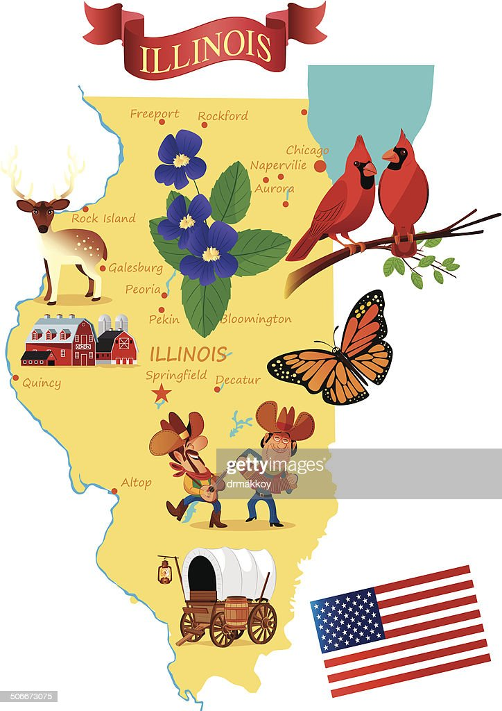 Cartoon map of Illinois