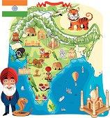 Cartoon map of India