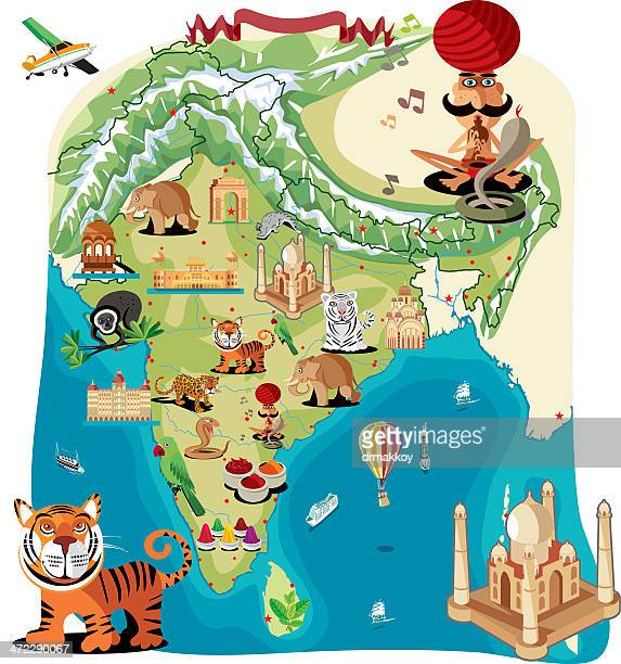 Cartoon map of India