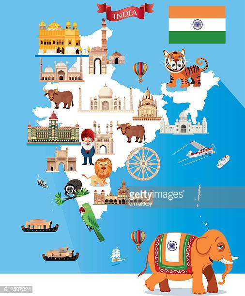 ilustrações, clipart, desenhos animados e ícones de desenho mapa da índia - taj mahal
