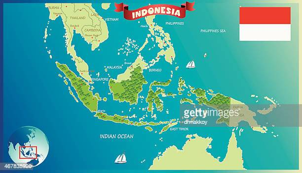Cartoon map of Indonesia