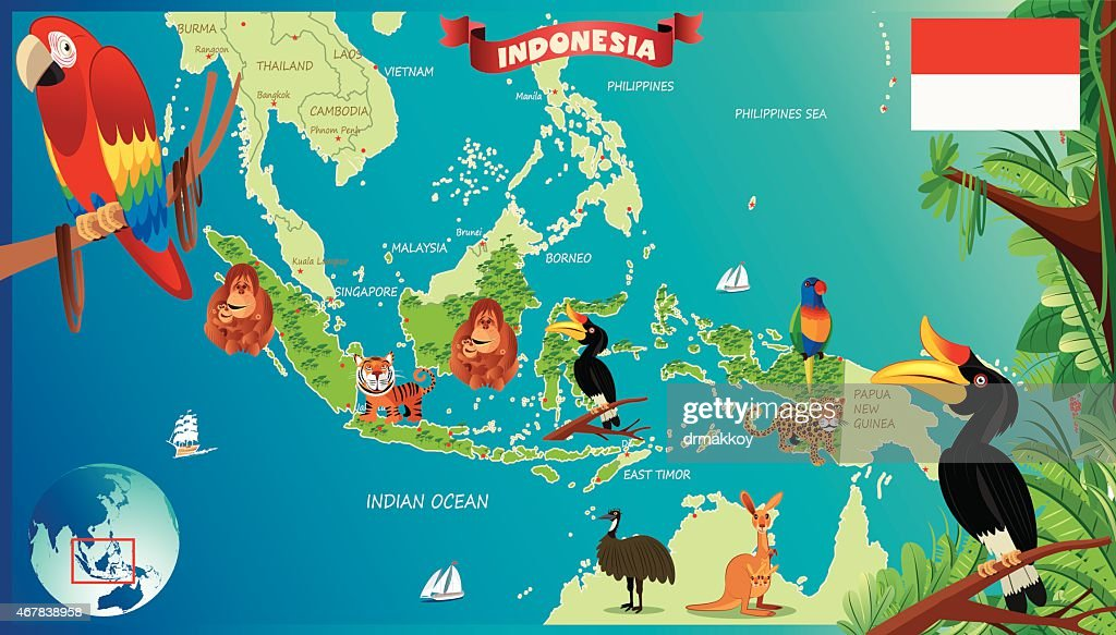 Cartoon Map Of Indonesia Vector Art Getty Images