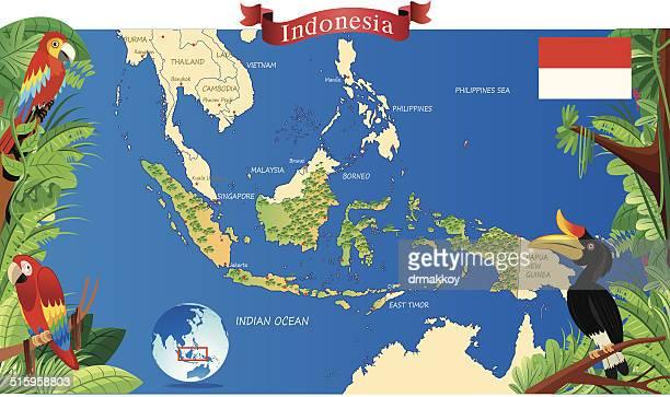 カットイラスト、インドネシアのマップ - ロンボク島点のイラスト素材/クリップアート素材/マンガ素材/アイコン素材