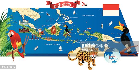 Indonesia Infographic Map Illustration Vector Art Getty Images - Indonesia map