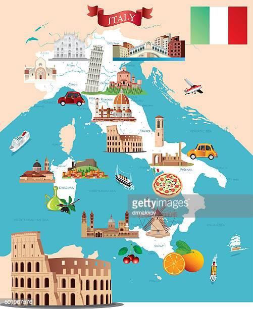 cartoon map of italy - rome italy stock illustrations, clip art, cartoons, & icons