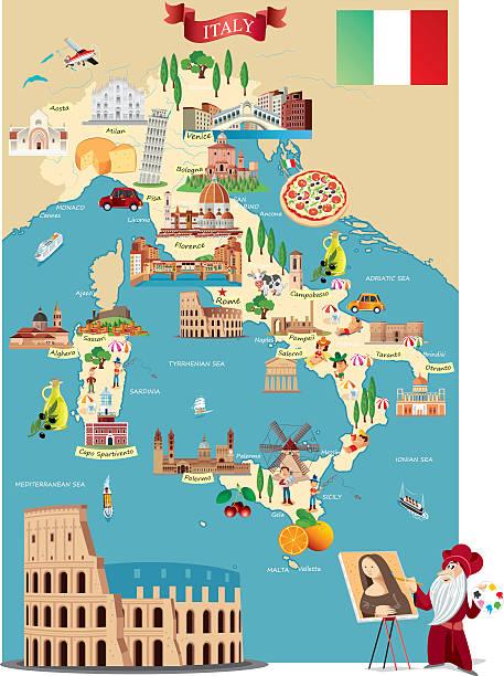 Cartoon Map Of ITALY Wall Art