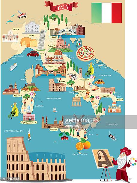 cartoon map of italy - tuscany stock illustrations, clip art, cartoons, & icons