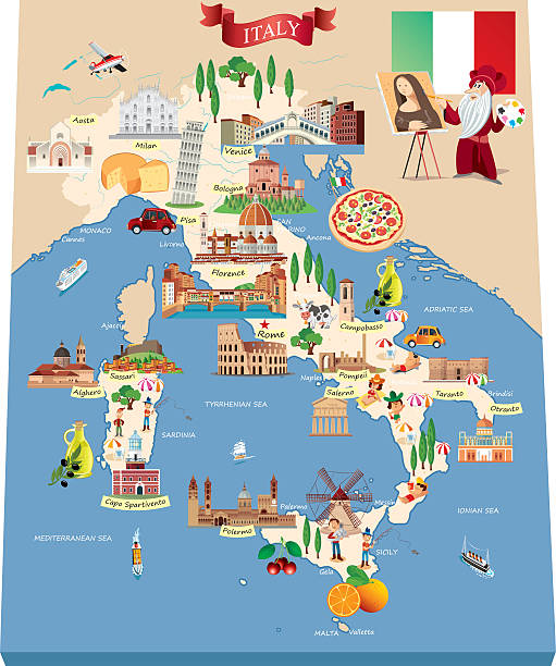 Cartoon Map Of ITALY Wall Art