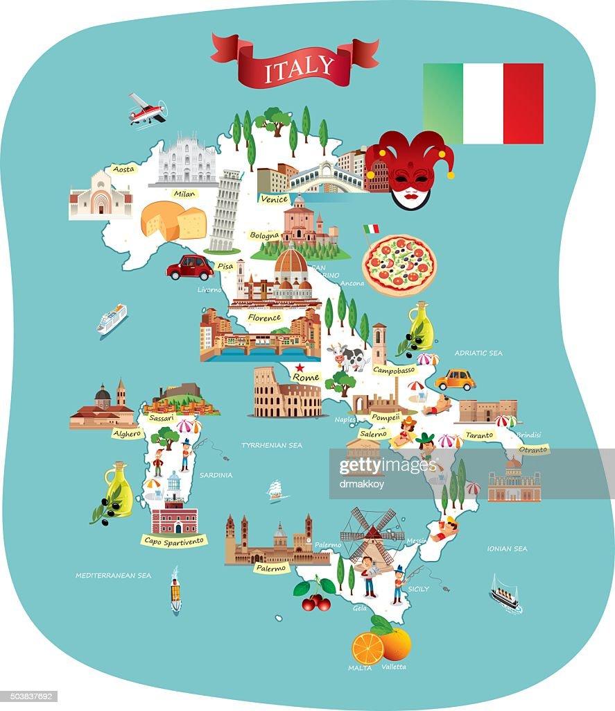 Cartoon map of ITALY : stock illustration
