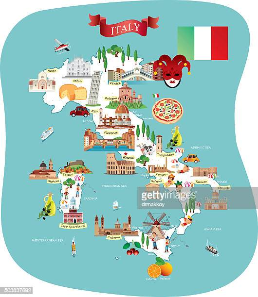 cartoon map of italy - naples italy stock illustrations