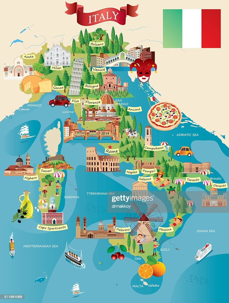 Cartoon map of ITALY : stock illustration