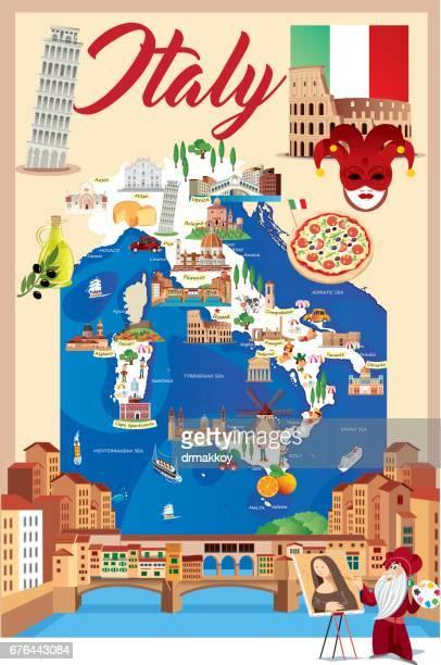 ilustrações, clipart, desenhos animados e ícones de desenho mapa da itália - itália