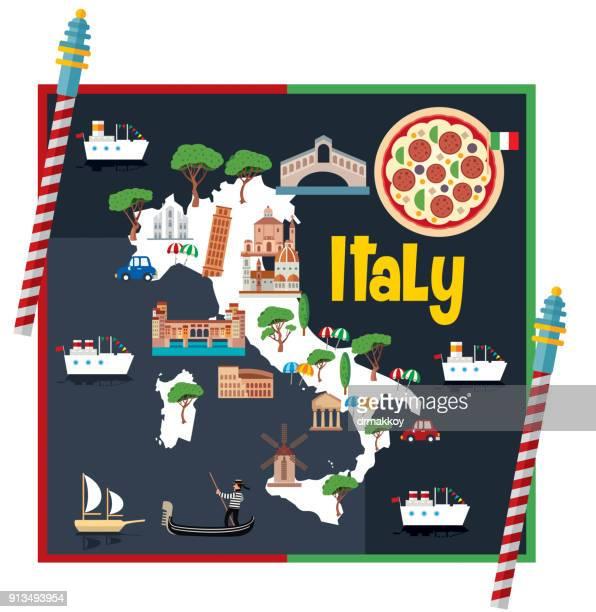 cartoon map of italy - mt vesuvius stock illustrations, clip art, cartoons, & icons