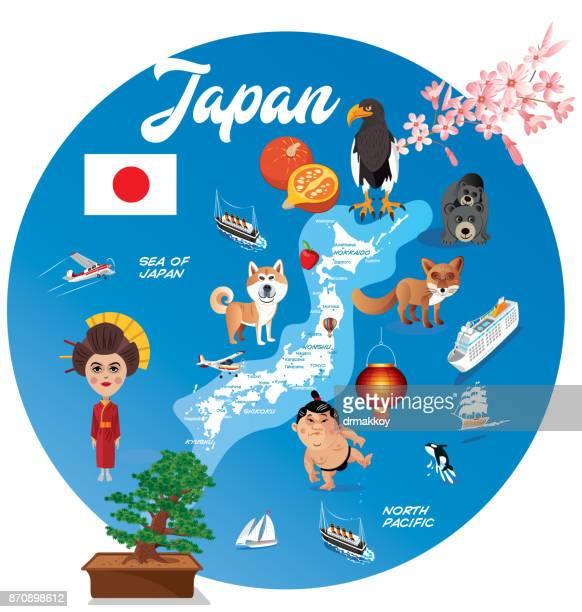 cartoon map of japan - nagasaki city stock illustrations, clip art, cartoons, & icons