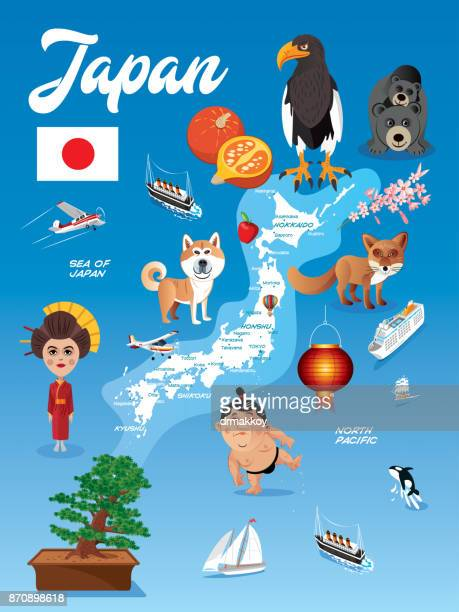 cartoon map of japan - hokkaido stock illustrations, clip art, cartoons, & icons
