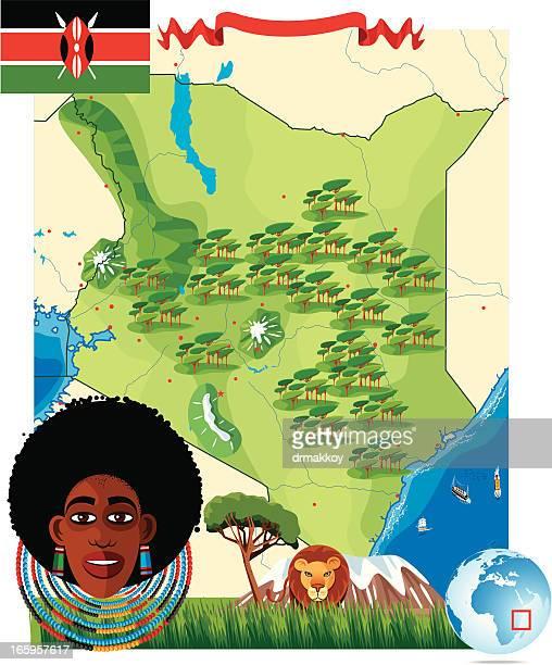 ilustraciones, imágenes clip art, dibujos animados e iconos de stock de dibujo mapa de kenia - masai