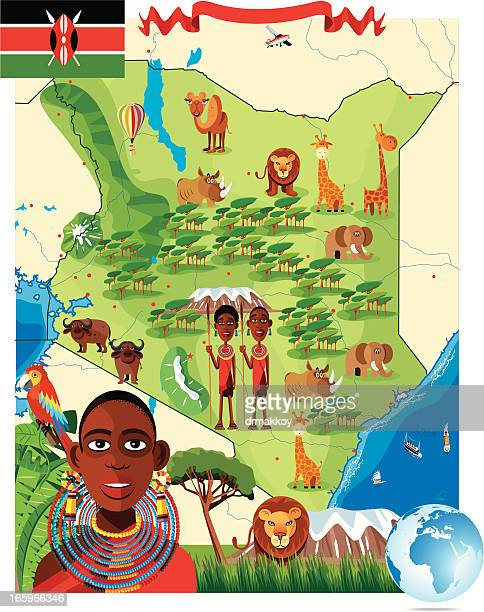 cartoon map of kenya - mt kilimanjaro stock illustrations, clip art, cartoons, & icons