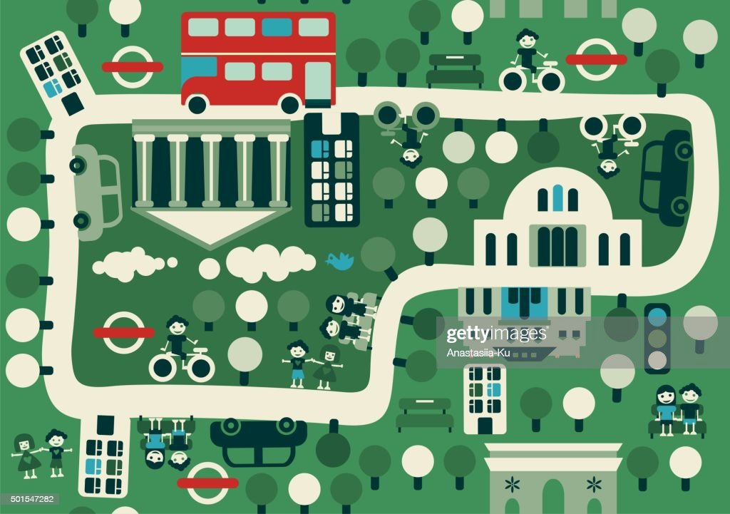 cartoon map of London with double decker bus